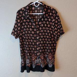 Apt 9 flowy blouse women's short sleeve sz 2x